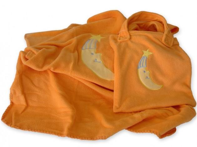Manta Polar Bebe Luna Cuna Naranja