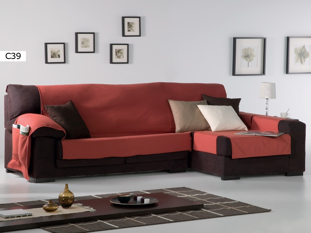 Comrpar funda de chaise longe practica lona liso de eysa - Funda de sofa chaise longue ...
