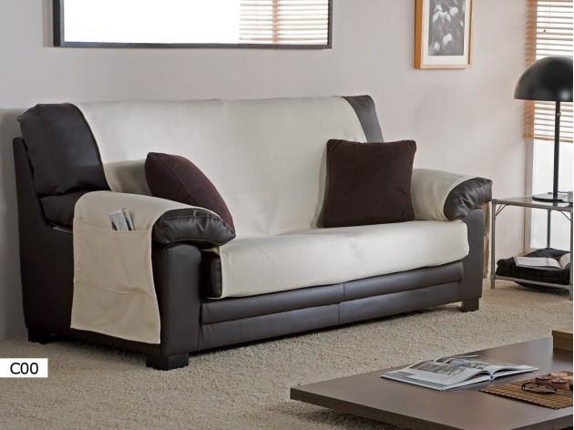 Funda de Sofa Practica Trigo 2 y 3 plazas de Eysa C00 blanco