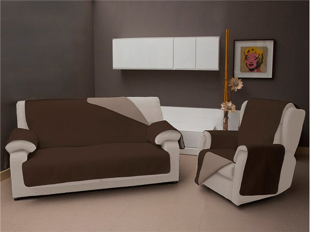 Funda Chaise Longue Reversible TV color marron