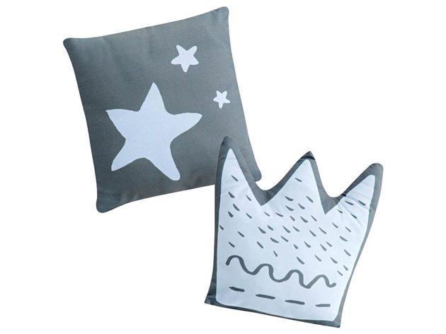 Cojines Bebé Little Crown con relleno azul