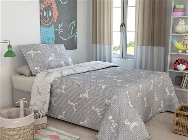 Colcha Infantil Reversible Unifabrics Jirafa+ Cojín color gris