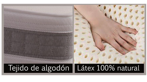Colchón Látex Gold con tejido acolchado de algodón