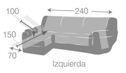 Croquis y medidas de la Funda Impermeable para Cheslong de 240 cm modelo Oslo Protect de Eysa