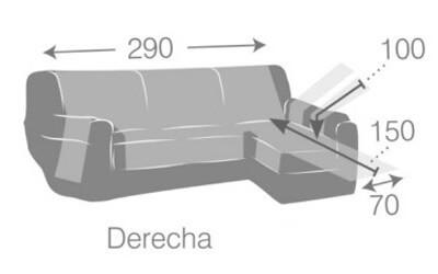 Croquis y medidas de la Funda Impermeable para Cheslong de 290 cm modelo Oslo Protect de Eysa