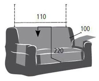 Croquis y medidas de la Funda Impermeable para Sofá de dos plazas modelo Oslo Protect de Eysa