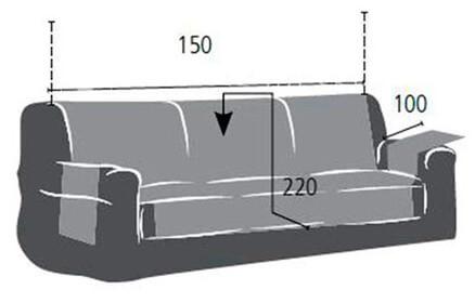 Croquis y medidas de la Funda Impermeable para Sofá de tres plazas modelo Oslo Protect de Eysa