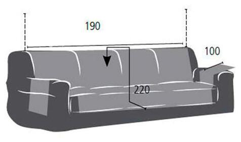 Croquis y medidas de la Funda Impermeable para Sofá de cuatro plazas modelo Oslo Protect de Eysa