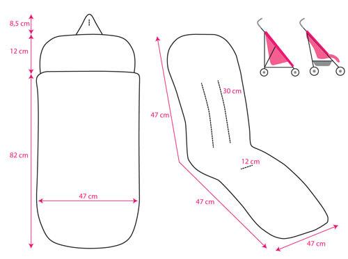 Esquema y medidas del Saco para Silla de Paseo de Bebe impermeable de Pekebaby tipo Universal