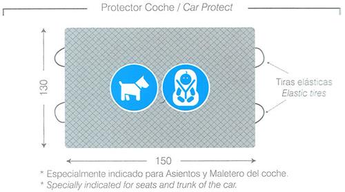 Esquema y medidas del Protector Impermeable para Asientos y Maletero de Automóvil. Ideal para perros