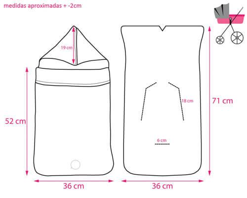 Croquis y Medidas del Saco para Capazo o Cuco de Pekebaby